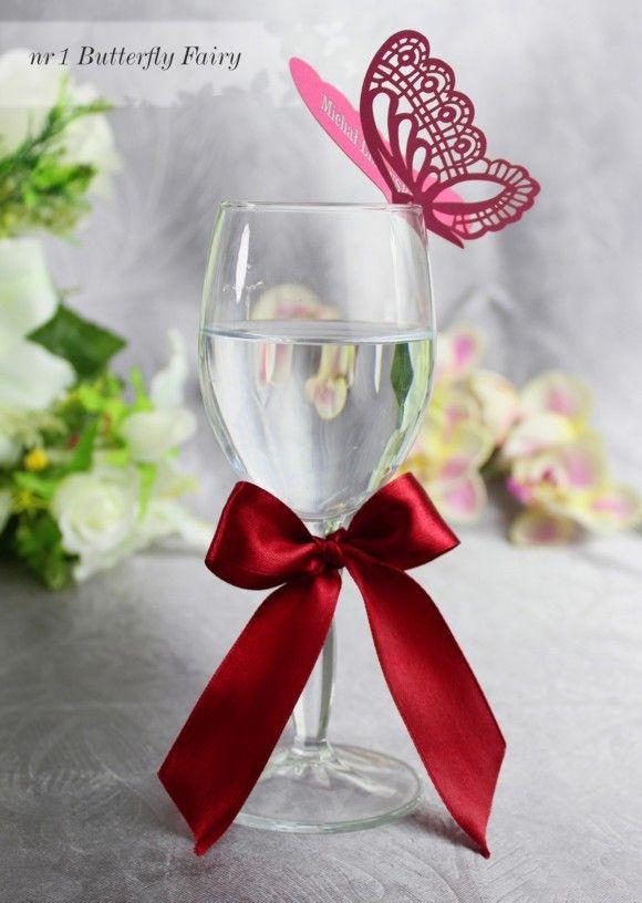 Nowosc Winietki Wizytowki Na Kieliszek Slub Wesele 4208985982 Oficjalne Archiwum Allegro Stemless Wine Glass Glassware Wedding Details