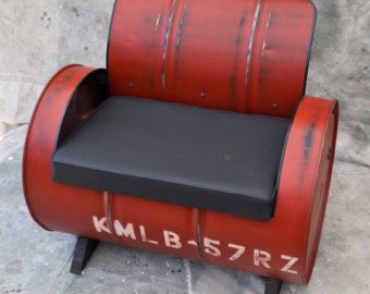 Recycled 55 Gallon Drum Turned Super Sweet Seating. Charcoal Gray Vinyl  Padded Seat. Ultra Durable Gloss Oil Based Enamel Paint, Blue In Color,  Finished Off ...