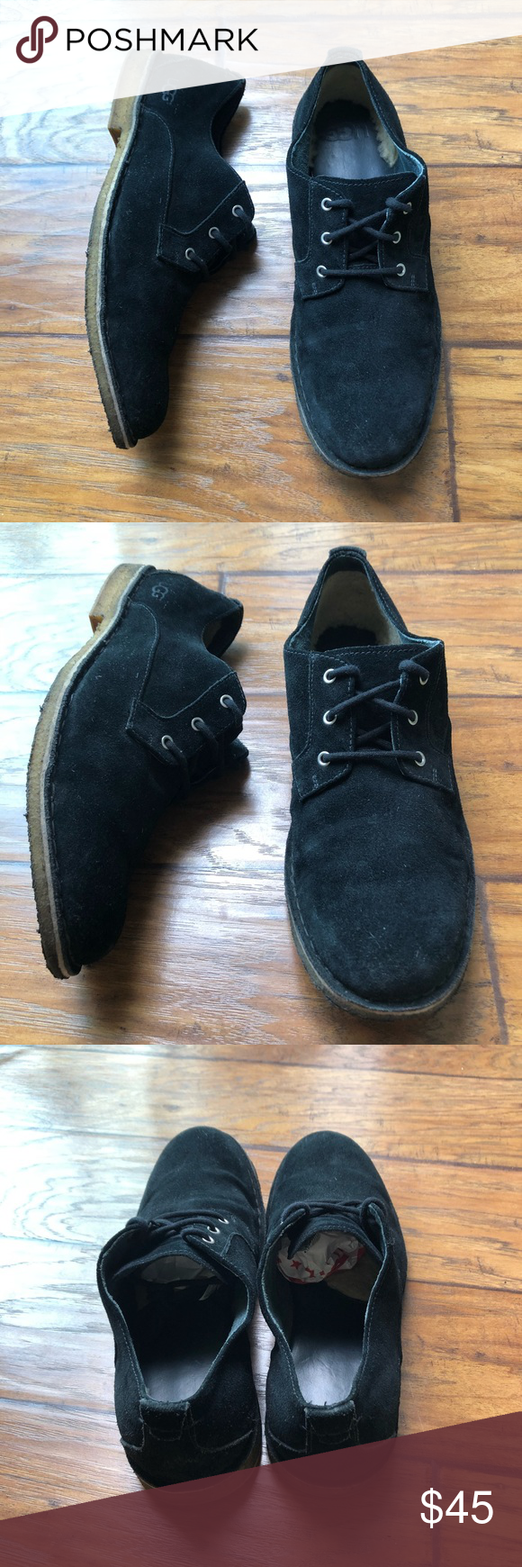 Ugg men's Black Suede Oxford shoes 12 Ugg Authentic Size