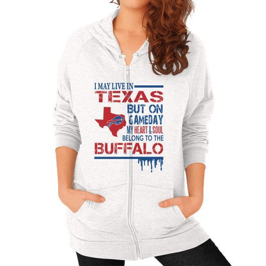 I MAY LIVE IN TEXAS Zip Hoodie (on woman)