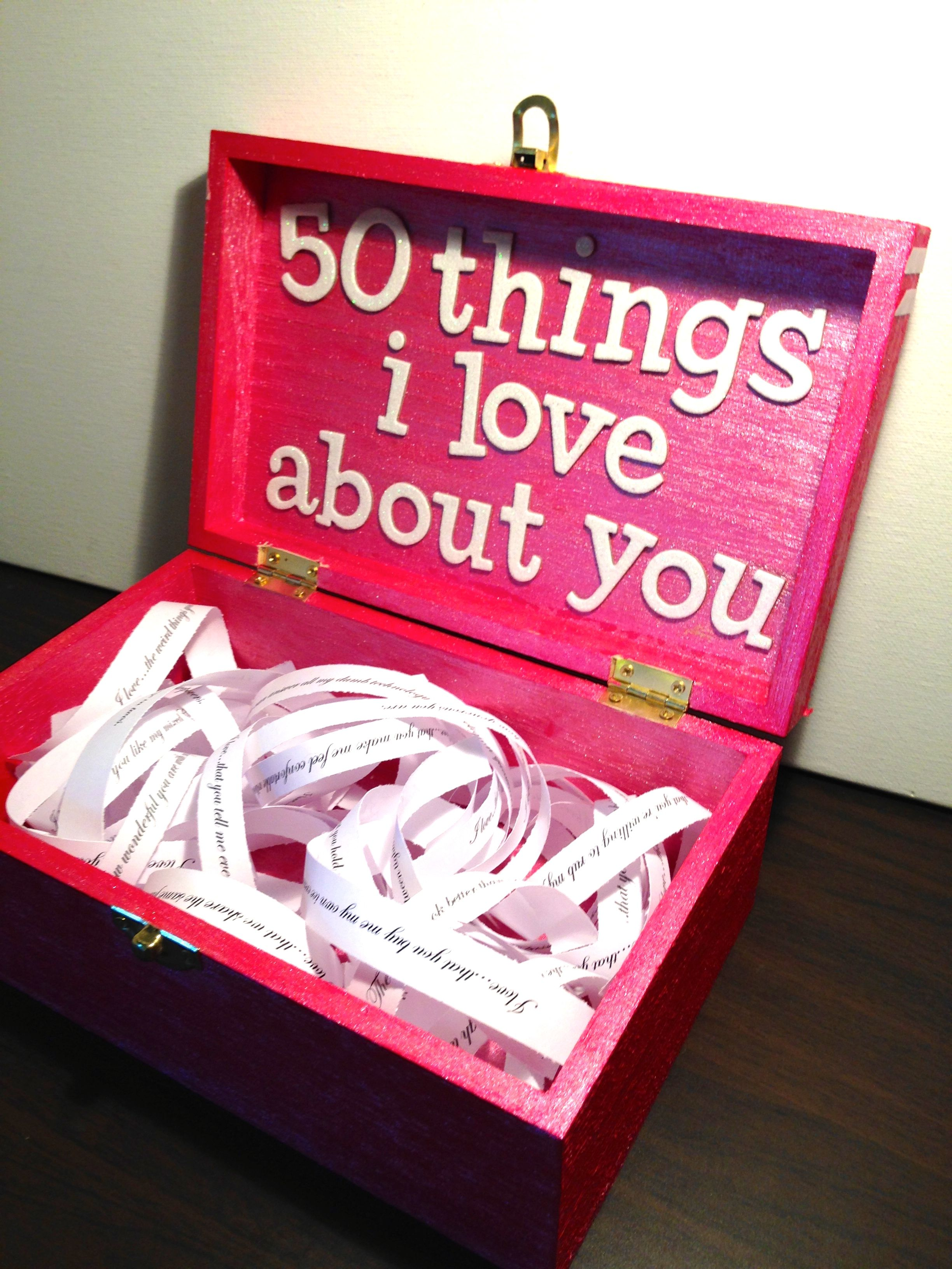 Boyfriend Girlfriend Gift Ideas For Birthday Valentines Or Just A Random Box With 50 Things I Love About You