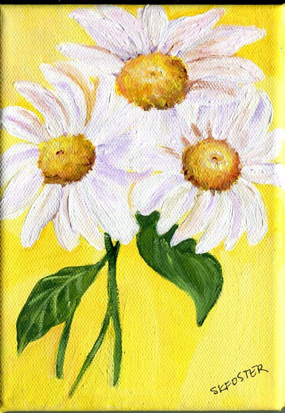 White Shasta Daisies Painting On Canvas, Paintings With Yellow Background