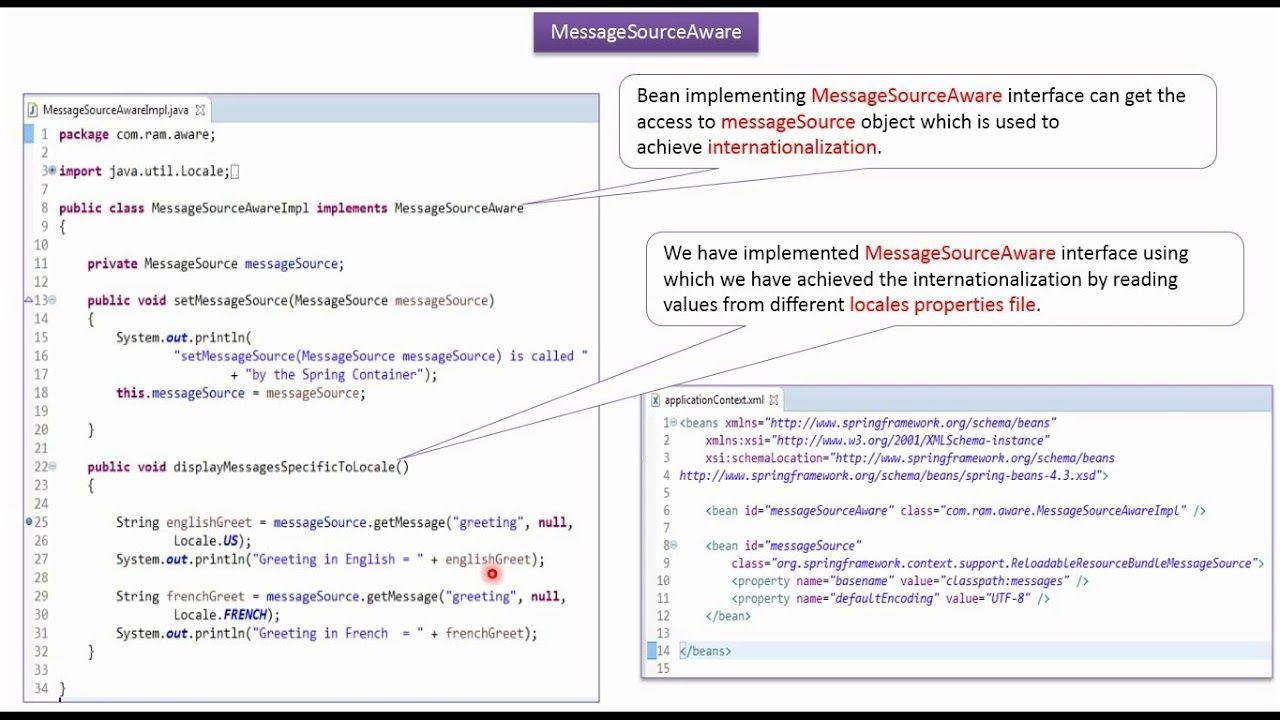 Spring Messagesourceaware Java Bean Example Spring Tutorial