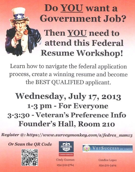 Check out the Federal Resume Workshop! Career Services Events