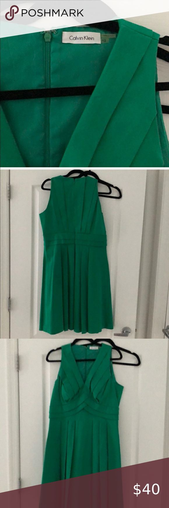 Calvin Klein Kelly Green V Neck Pleated Dress Reposhing this item I purchased from @roxybo3. Loved it, but ready to rotate for something new. Questions? Leave a comment below! Calvin Klein Dresses Midi