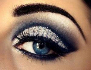 Maquillaje hermoso para lucir espectaculares en una noche de fiesta.     Complementado perfectamente con tonos azules, negros, plateados y blancos, el delineado crea la ilusión de unos ojos mucho más grandes y luminosos.