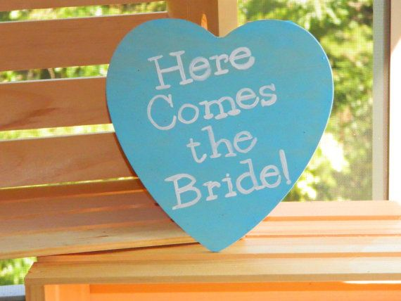 Personalized Here Comes the Bride Rustic Heart Sign - Hand Stained and Hand Painted