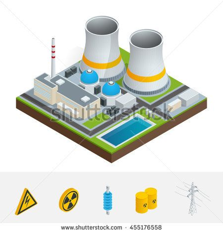 vector isometric icon, infographic element representing nuclear power  station, reactors, power lines and nuclear energy generation related  facilities