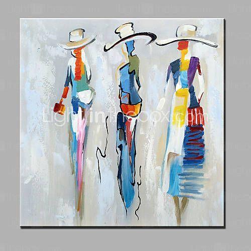 peinture l 39 huile hang peint peint la main personnage moderne toile peinture pinterest. Black Bedroom Furniture Sets. Home Design Ideas
