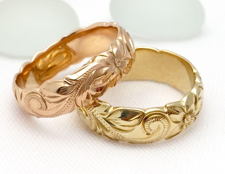 Hawaiian ring hand engraved k gold barrel ring mm width