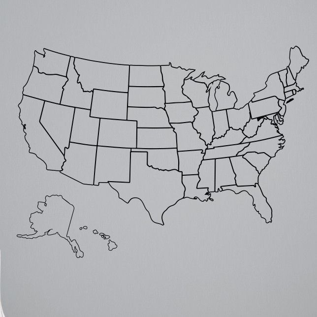 Outlined United States Map with Fill-In State Packs | Teach | Bullet ...
