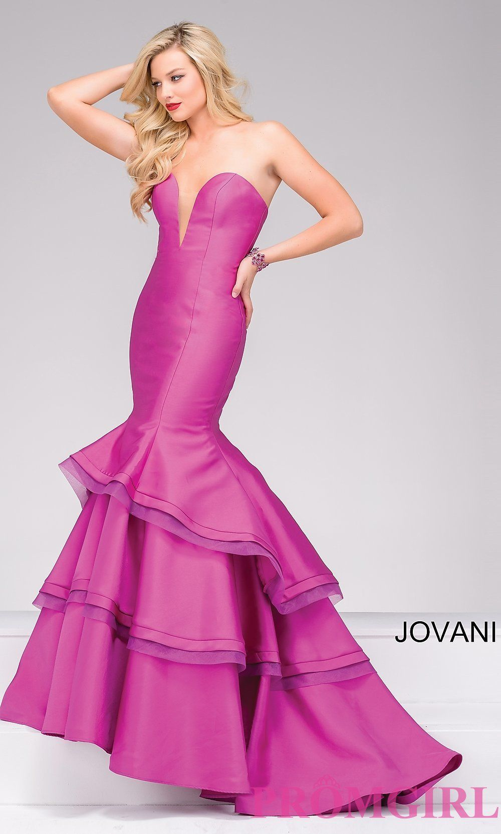 Long strapless sweetheart prom dress by Jovani with layered skirt ...