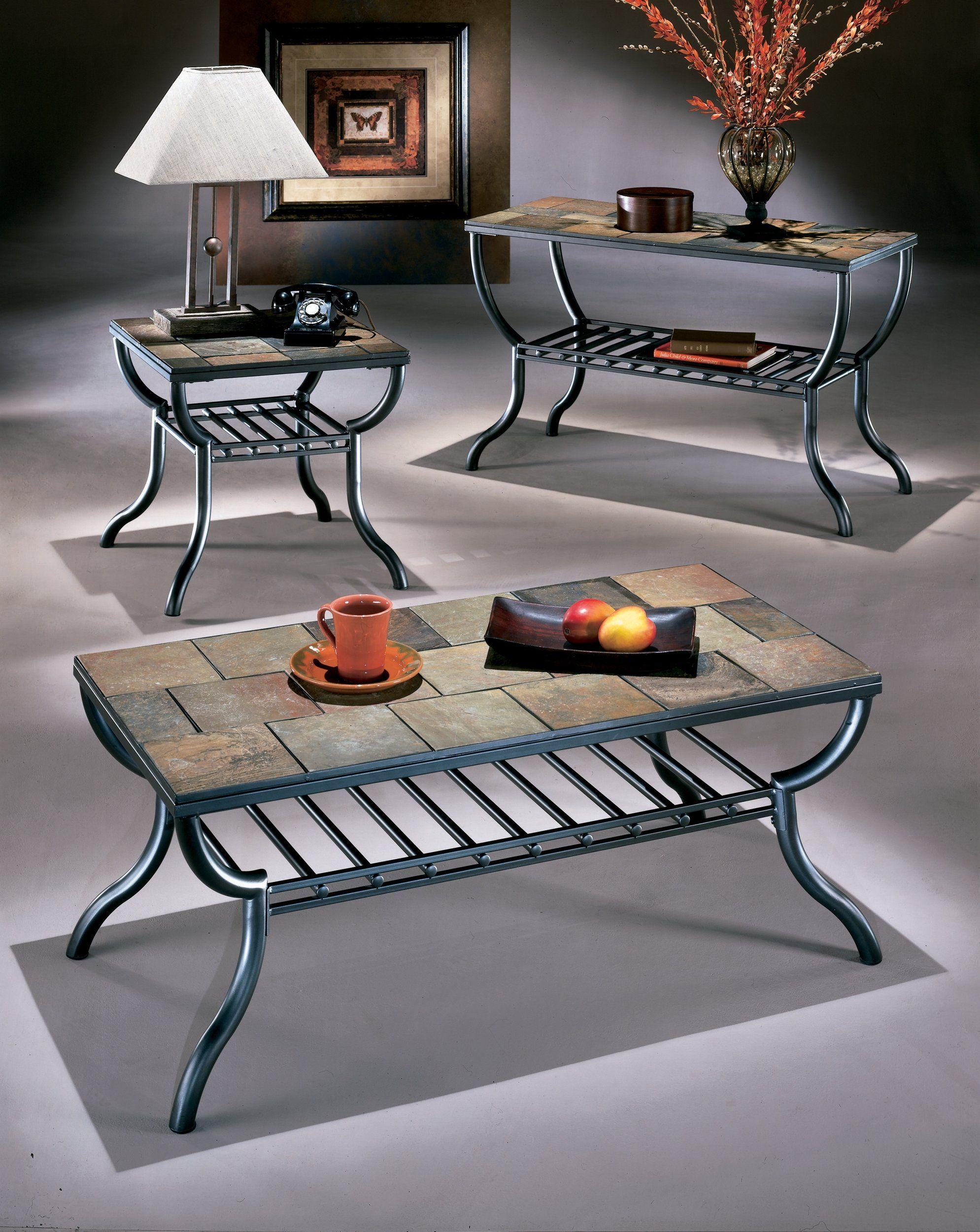Ashley Furniture Signature Design Antigo Sofa Table With Console Slated Top With Metal Bottom Contemporary Black Coffee Table Ashley Furniture Furniture [ 2500 x 1989 Pixel ]