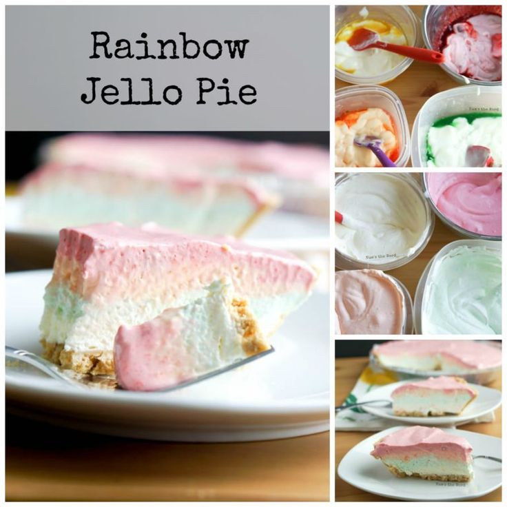 Rainbow Jello Pie consists of four delicious flavors that combined taste a bit l Desserts with Sherbet