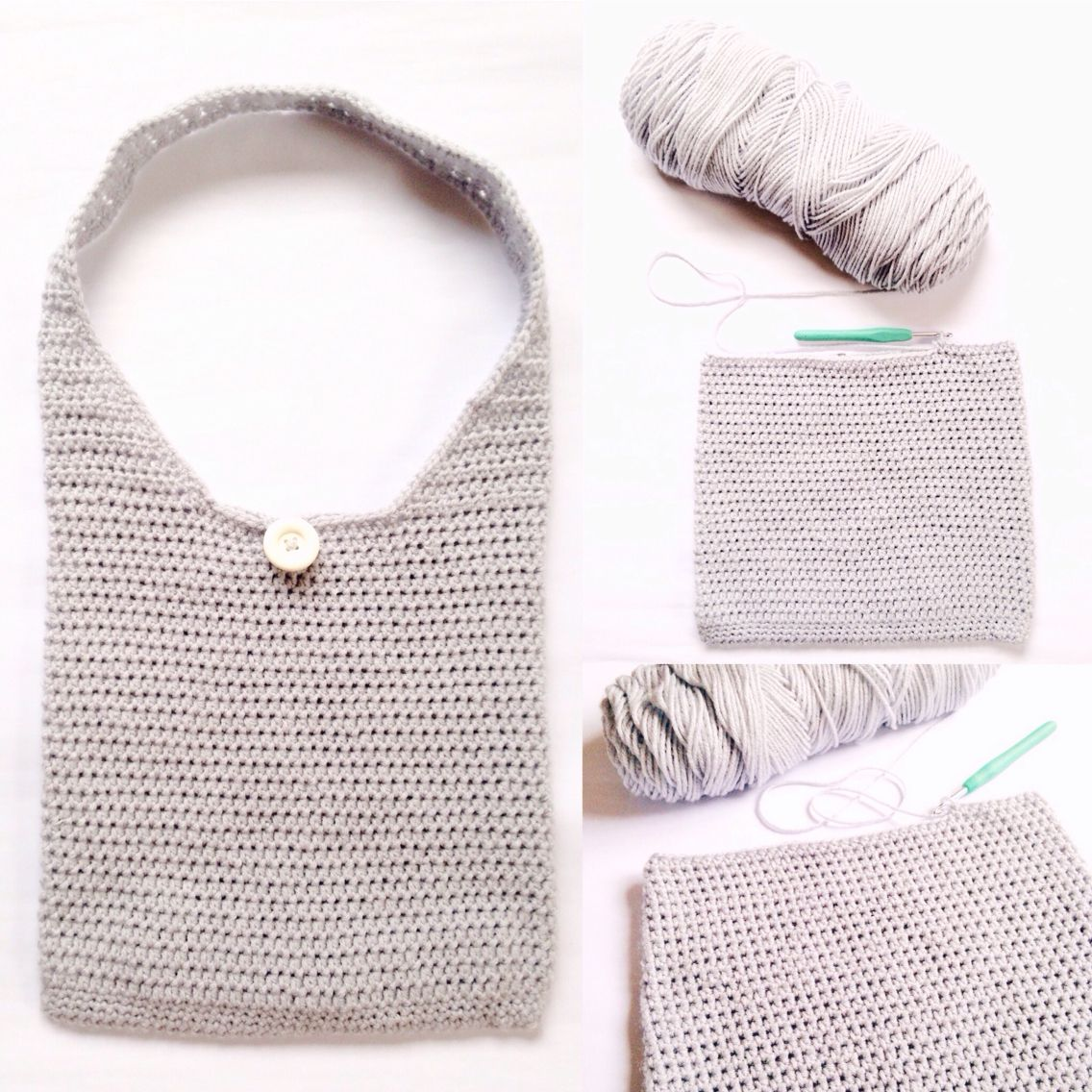 Super easy crochet tote bag! I just used half a skein of Redheart ...