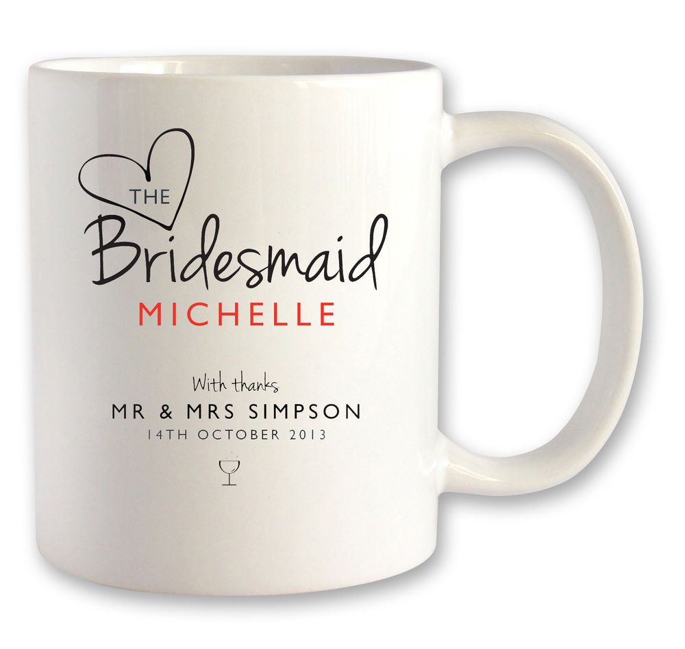 Personalised BRIDESMAID wedding mug gift idea for a thank you ...