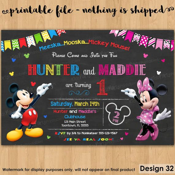 Mickey And Minnie Invitation Printable Mickey And Minnie  Twins