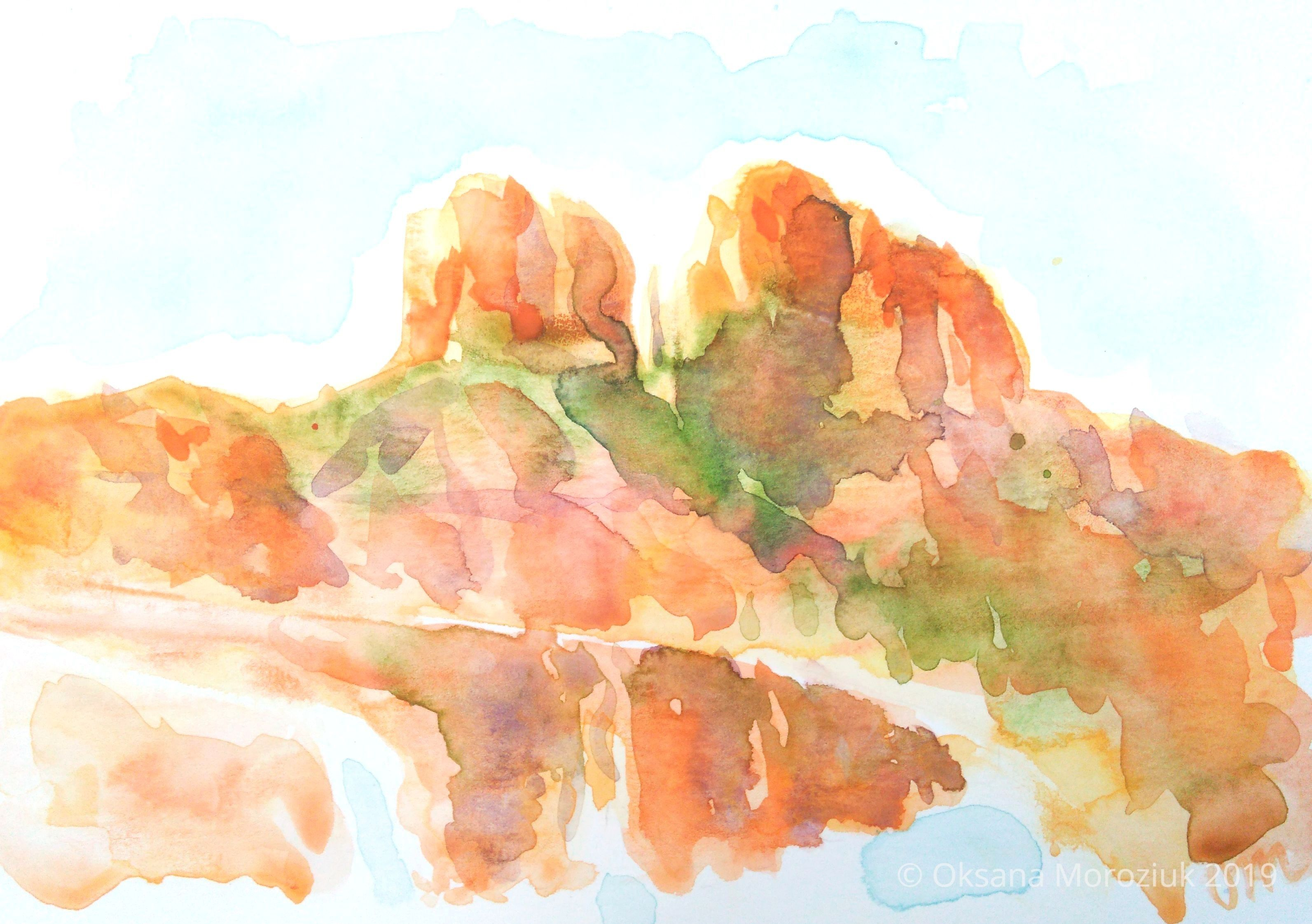 Original Watercolor Painting Red Rock Mountains Made By Oksana