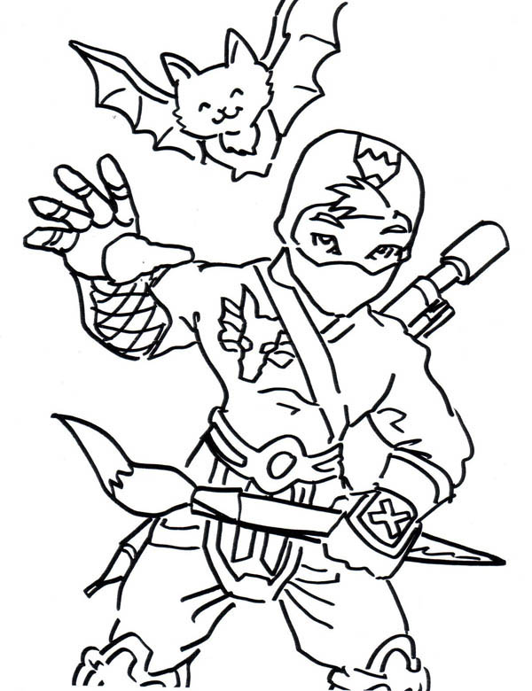Ninja And Cute Smiling Bat Coloring Page Download Print Online Coloring Pages For Free Color Nimb Bat Coloring Pages Online Coloring Pages Coloring Pages