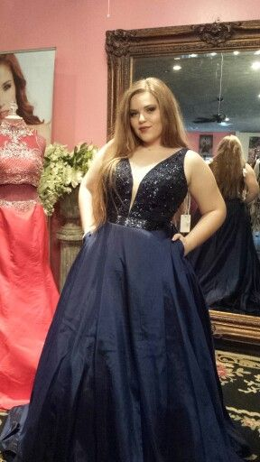 03f34fb2fce Sherri Hill 50233 navy blue ball gown. This dress is perfect for prom. Dress  to impress.