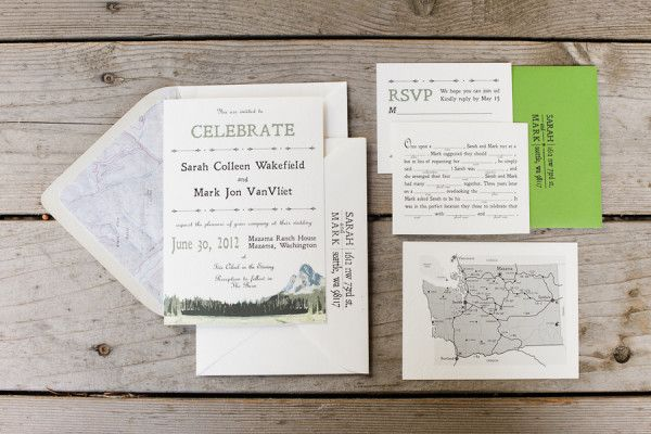 rustic Washington wedding invitations