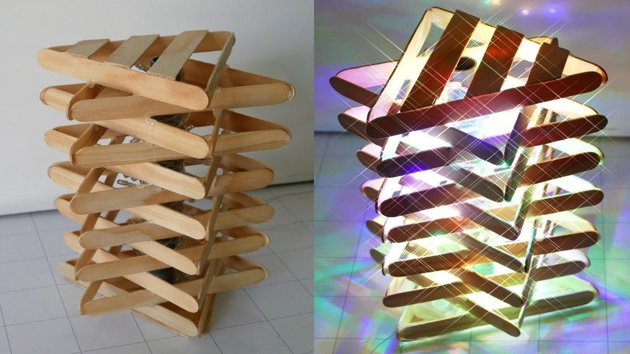 Diy Room Decor How To Make A Popsicle Stick Lamp Easy Crafts Ideas At Home Diy Popsicle Stick Crafts Craft Stick Crafts Popsicle Crafts