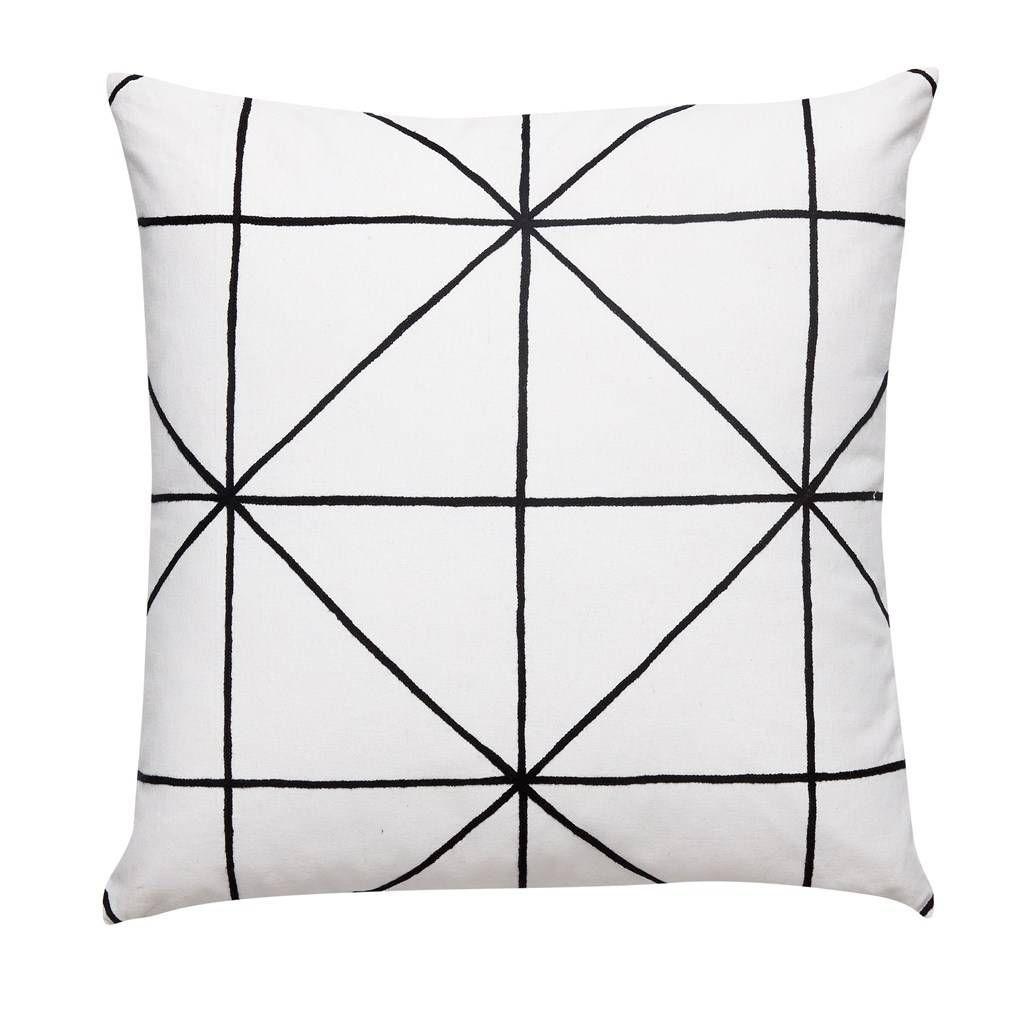 Hubsch kussen met wit zwart patroon 50 x 50 cm zwart for Comfy kussen