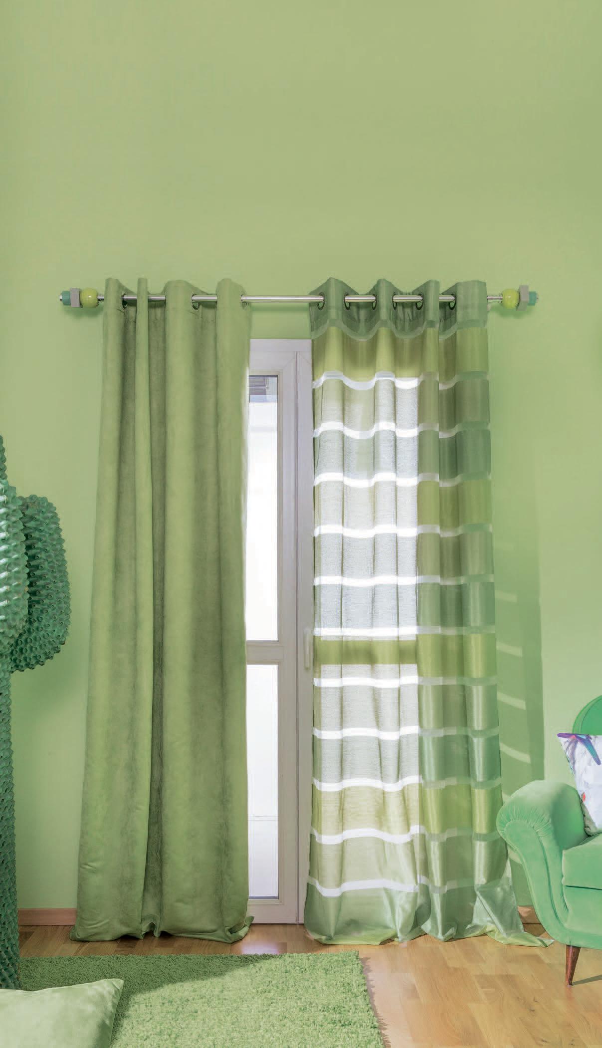Tende e parete ton sur ton un mondo verde colours for Tende a rullo leroy merlin
