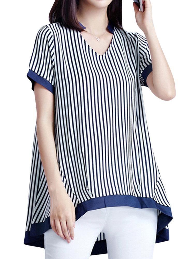 7e742a37f88a Casual Women Stripe V-Neck Short Sleeve Irregular Chiffon T-Shirt in ...