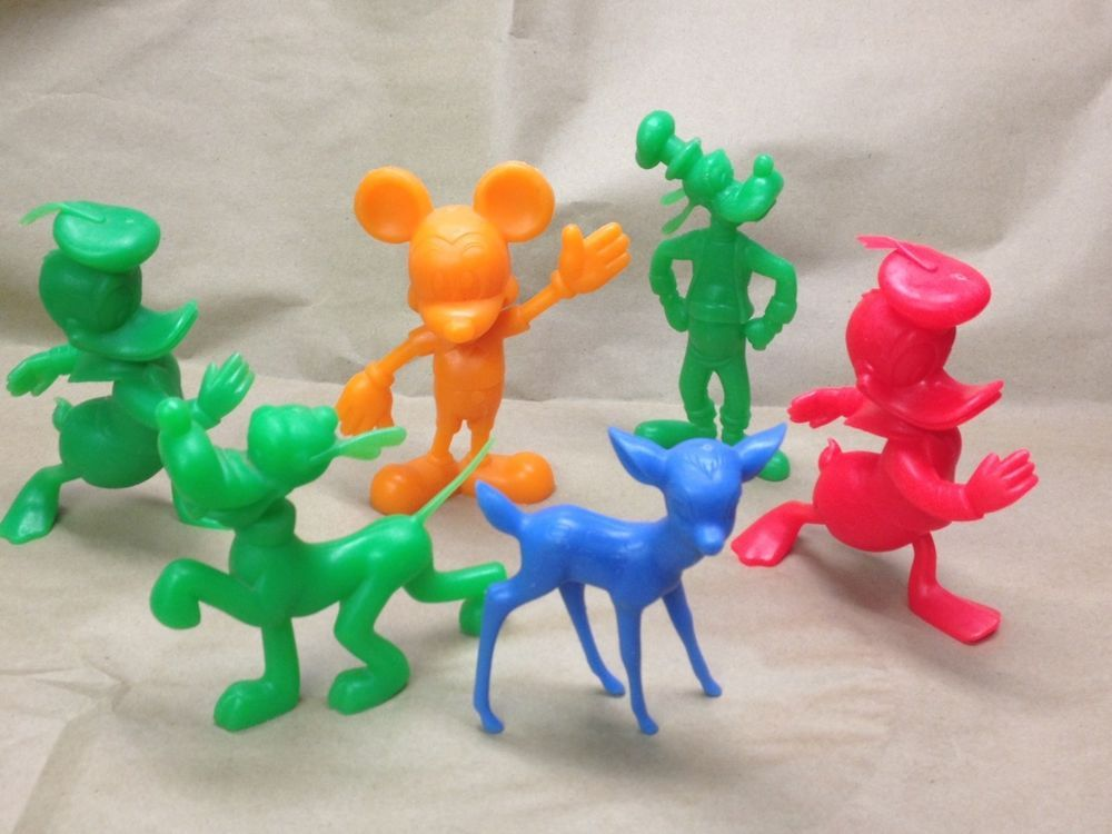 6 Vintage 1970s Disney Louis Marx Plastic Figures Lot - Mickey Bambi Goofy etc.