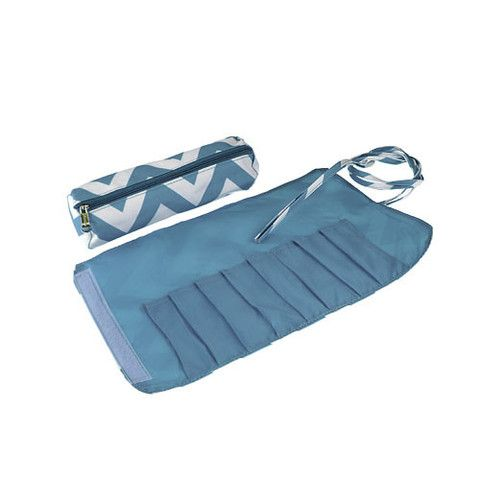 Makeup Brush Roll & Makeup Bag - Blue Chevron – A Little This, A Little That - duo makeup brush case and makeup bag, great bridesmaid gift - perfect, small, useful and unique.