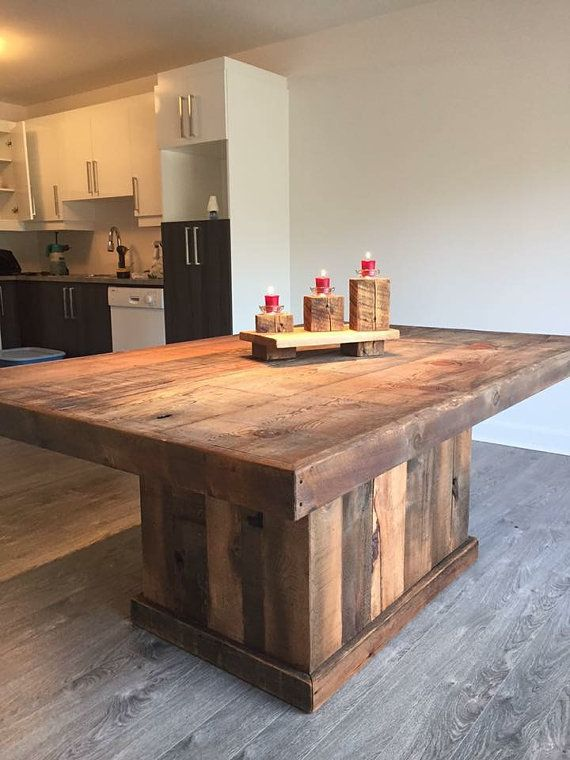 Rustic-style table made by hand from barn wood by ...