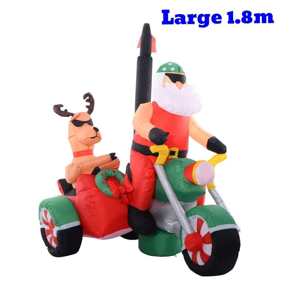 Blower For Inflatable Decorations : Christmas inflatable holiday santa claus bike deer blower