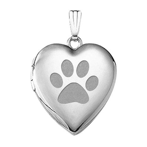 silver locket print on animal prints paw sterling polished oval chain lockets satin