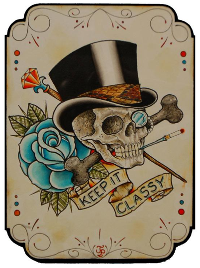 Image result for tattoo of a skull wearing a tophat