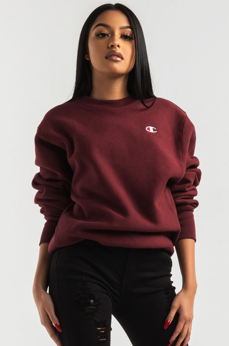 950d1bb58d89 Front View Champion Womens Reverse Weave Crew Sweatshirt in Team Maroon