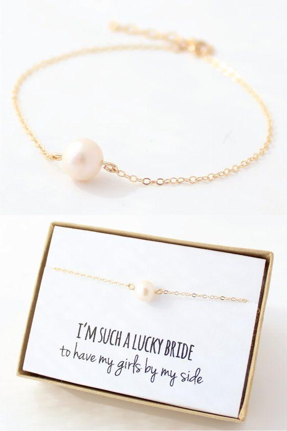 Bridesmaid gift single freshwater pearl gold bracelet bridesmaid bridesmaid gift single freshwater pearl gold bracelet fandeluxe Choice Image