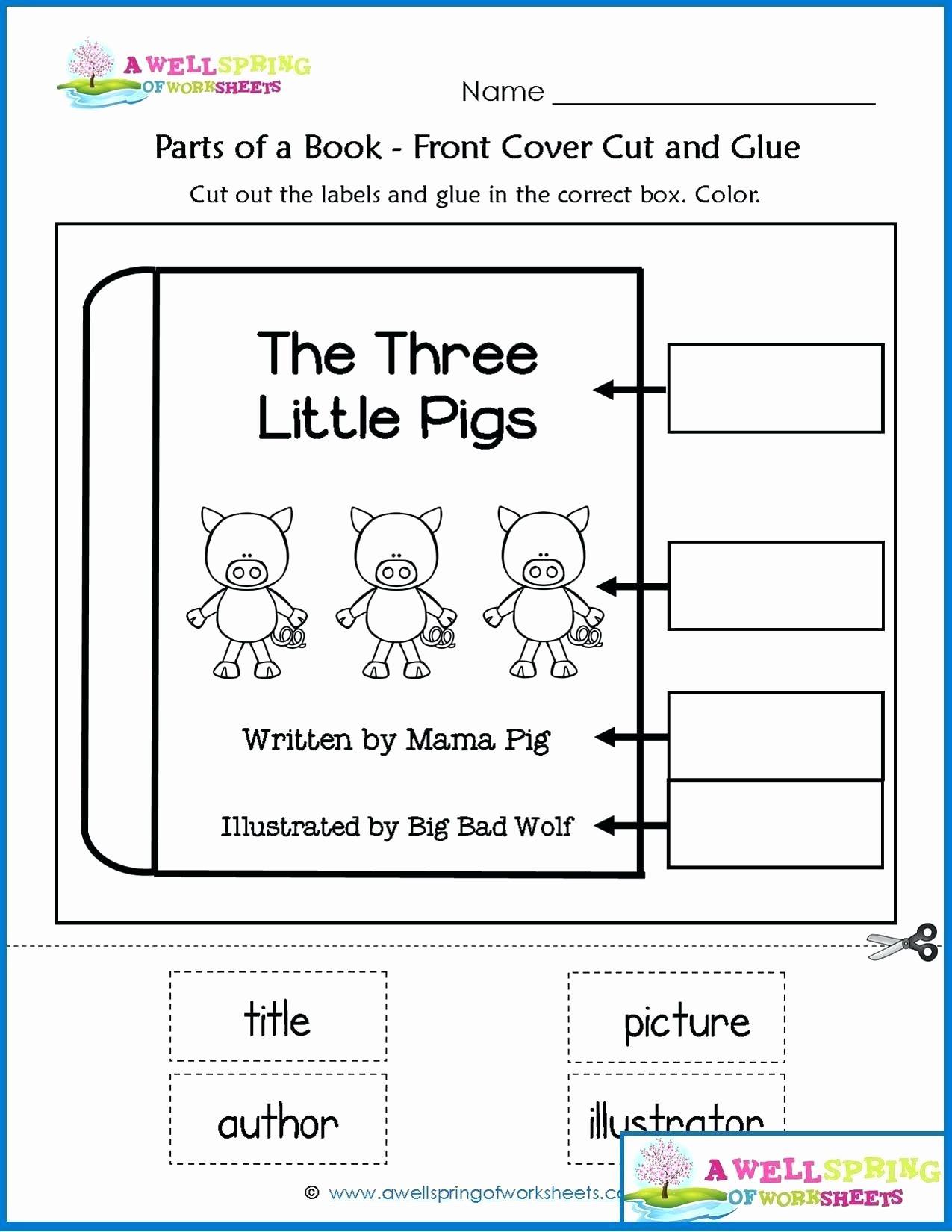 Kindergarten Parts Of A Book Worksheet In