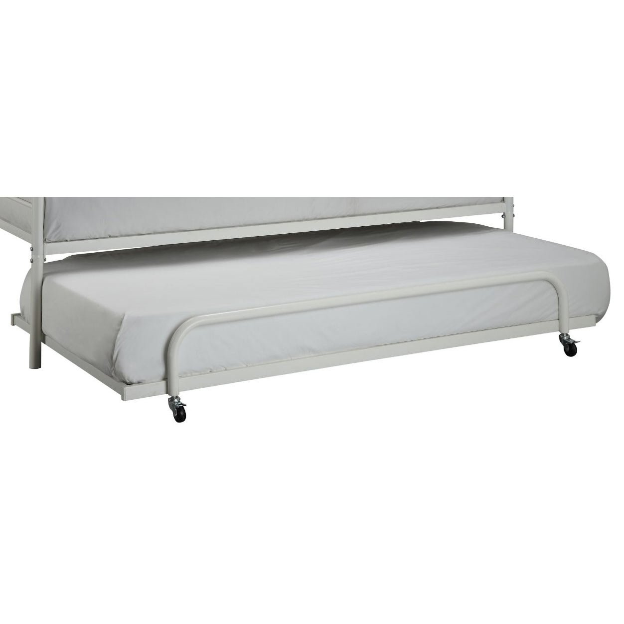 Twin Size Roll Out Trundle Bed Frame In White Metal Trundle Bed
