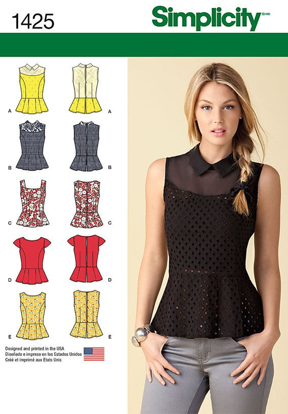 Simplicity Sewing Pattern 1425 Misses\' Peplum Tops with Neckline ...