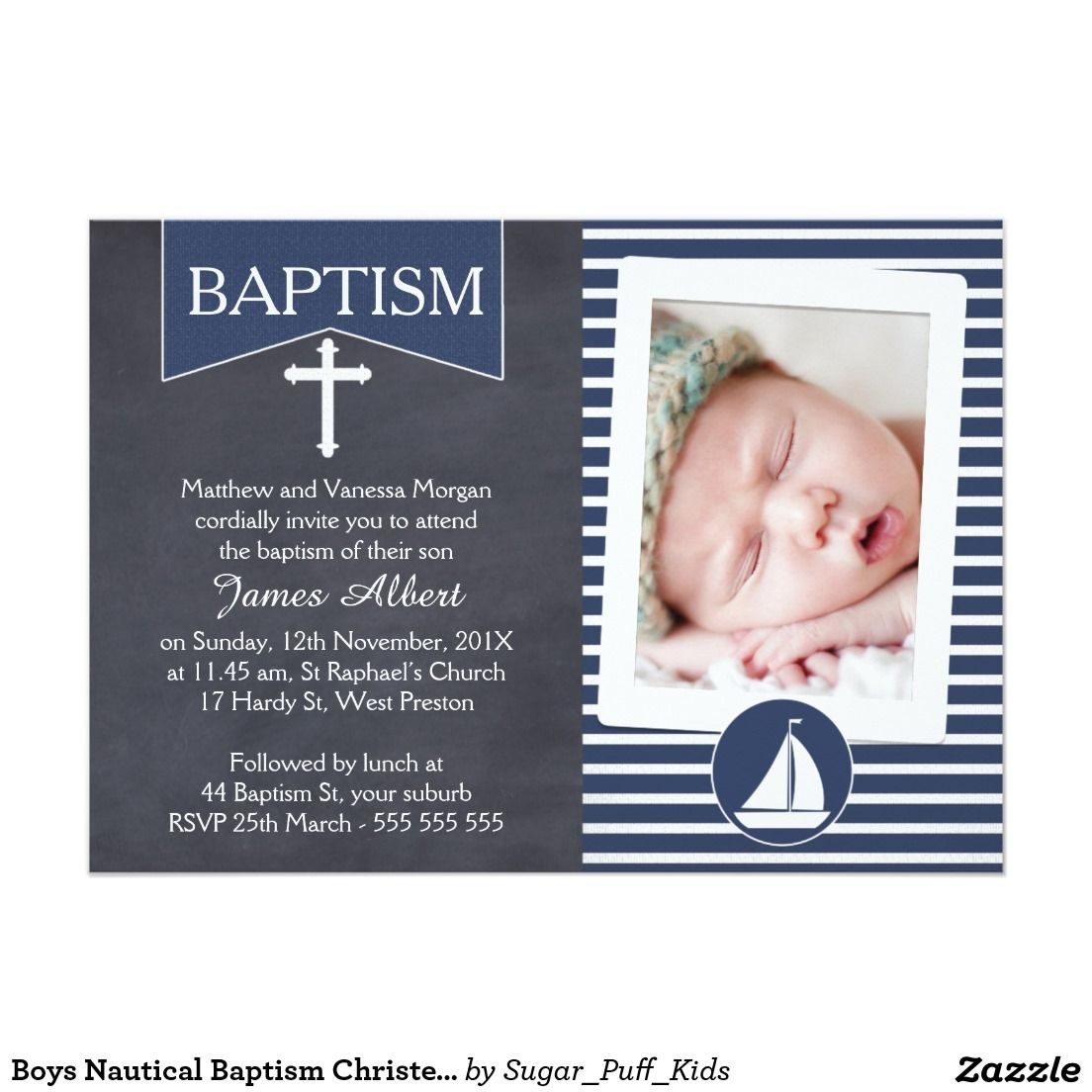 Boys Nautical Baptism Christening Invitation Boys Nautical