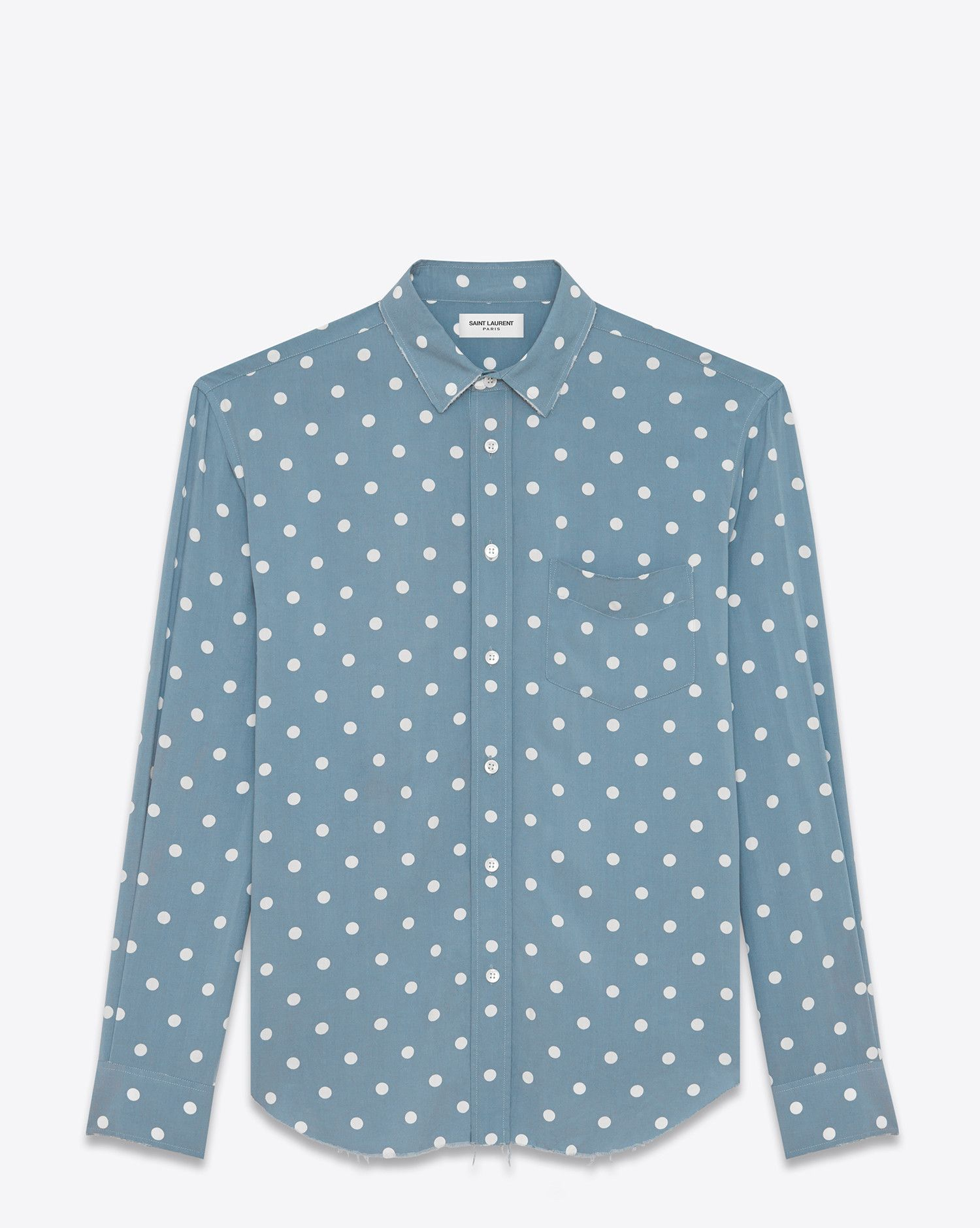 Saint Laurent Oversized Signature YVES Collar Shirt In Blue And White Polka Dot Printed Viscose 550 EUR.