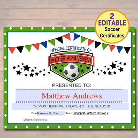 EDITABLE Soccer Award Certificates, INSTANT DOWNLOAD, Team Soccer - new printable sport certificates