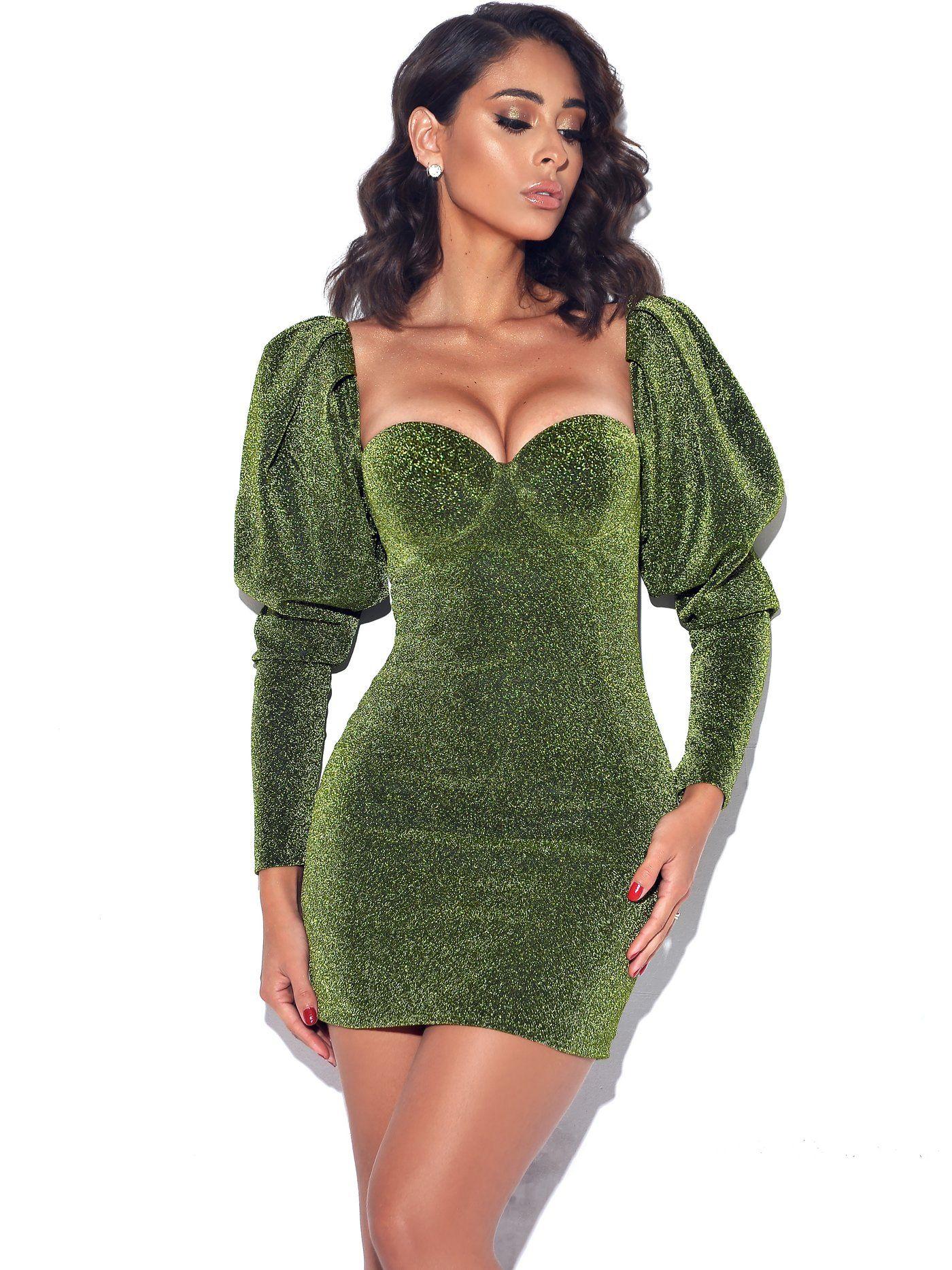 Verina Green Metallic Puff Shoulder Dress Long Sleeve Mini Dress Bodycon Dress Bodycon Mini Dress [ 1867 x 1400 Pixel ]