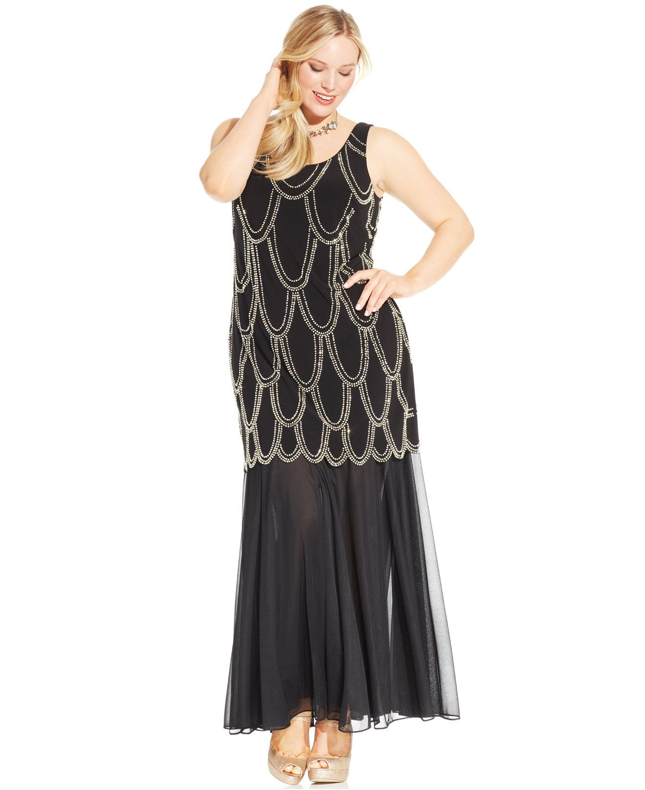 Betsy & Adam Plus Size Beaded Drop-Waist Dress - Dresses ...