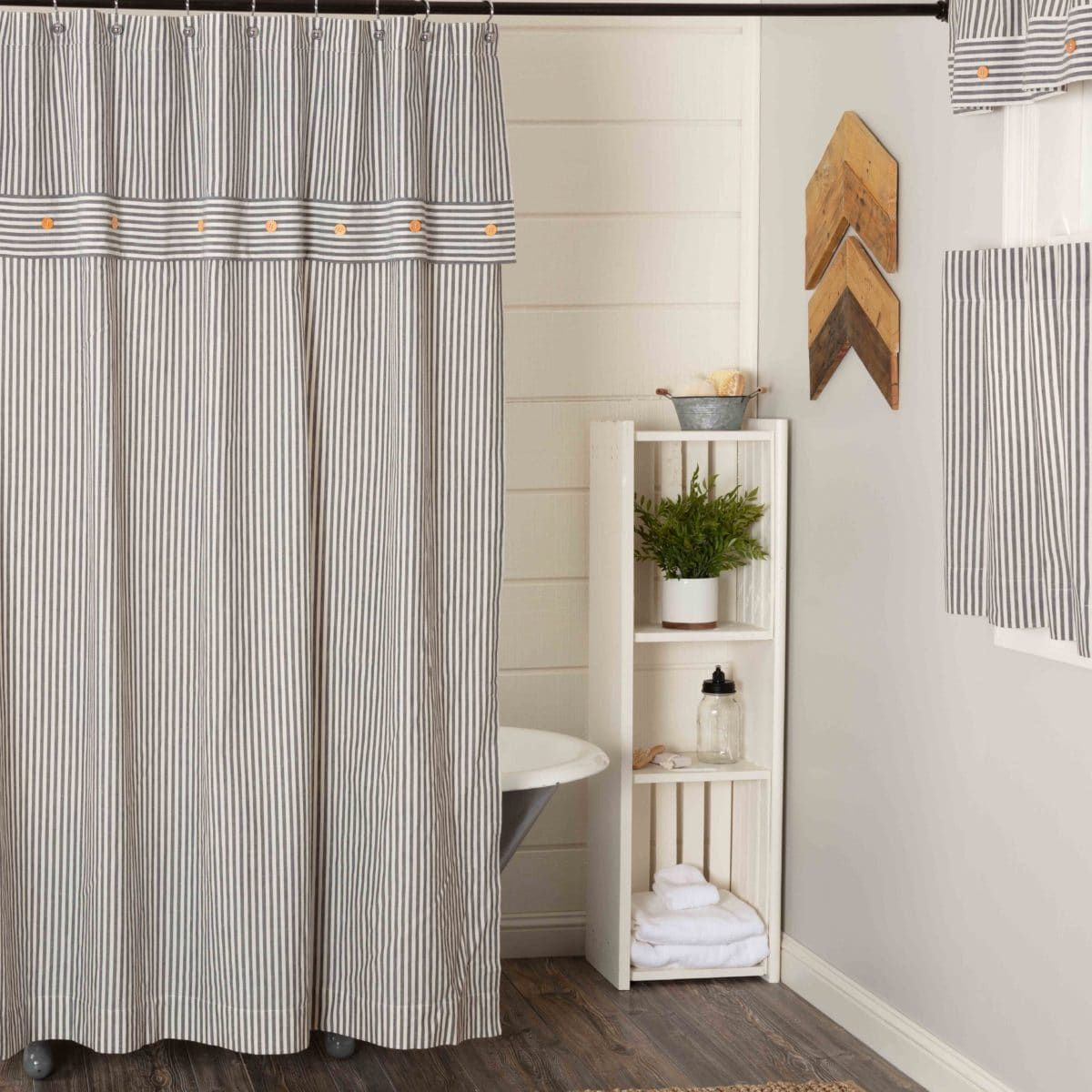 Farmhouse Ticking Gray Shower Curtain Gray shower