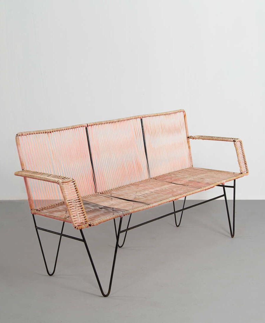 enameled iron and nylon cord bench 1950s home insp pinterest. Black Bedroom Furniture Sets. Home Design Ideas