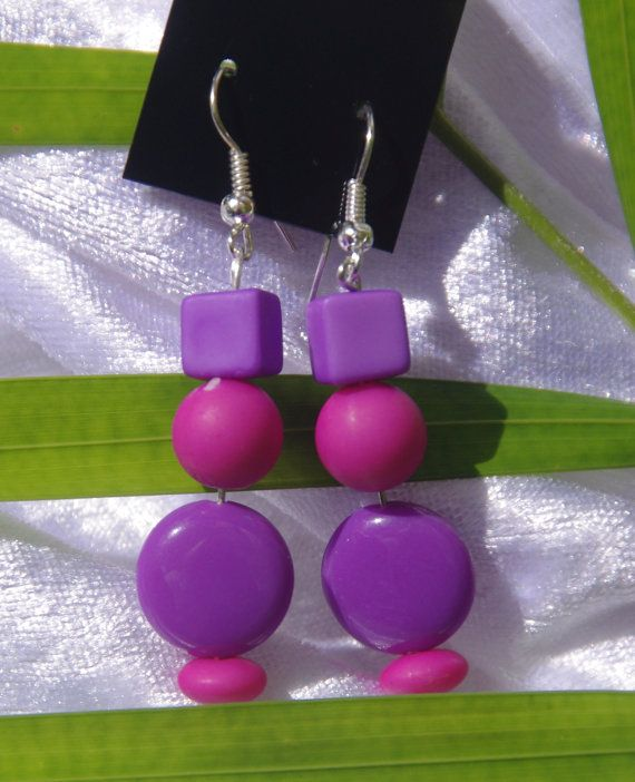 Bright purple and Pink Rainbow Earrings in by TwistedInTheTropics, $5.95