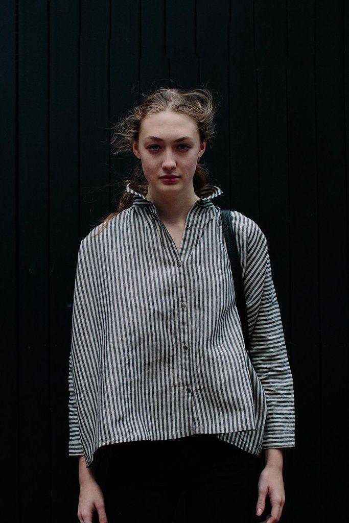 3b6a743029 Ichi Antiquites Gather Linen Shirt Stripes   rennes.us sold out ...