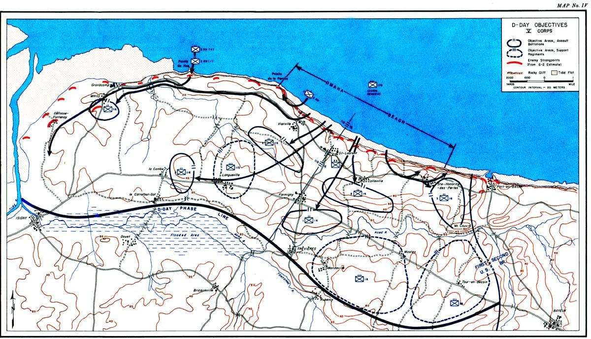 DDay objectives US V Corps Omaha Beach map for DDay Operation